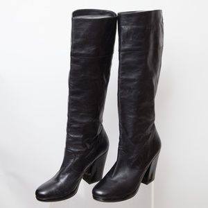 Robert Clergerie Tall Leather Heeled Boots Size 7